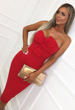 Red Twist Front Strapless Midi Dress