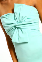 Knots Over You Mint Tie Front Strapless Midi Dress