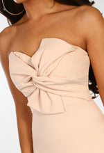 Knots Over You Nude Twist Front Strapless Midi Dress