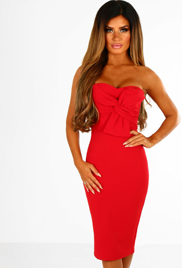 Knots Over You Red Twist Front Strapless Midi Dress Pink