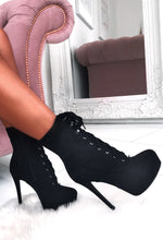Lace It Up Black Suede Lace Up Platform Boots