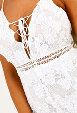Lace Lover White Crochet Lace Up Playsuit