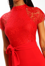 Laced With Love Red Lace Midi Dress