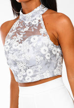 Lady Glam Blue Embroidered Mesh Crop Top