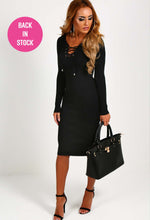 Lailah Black Lace Up Jumper Dress