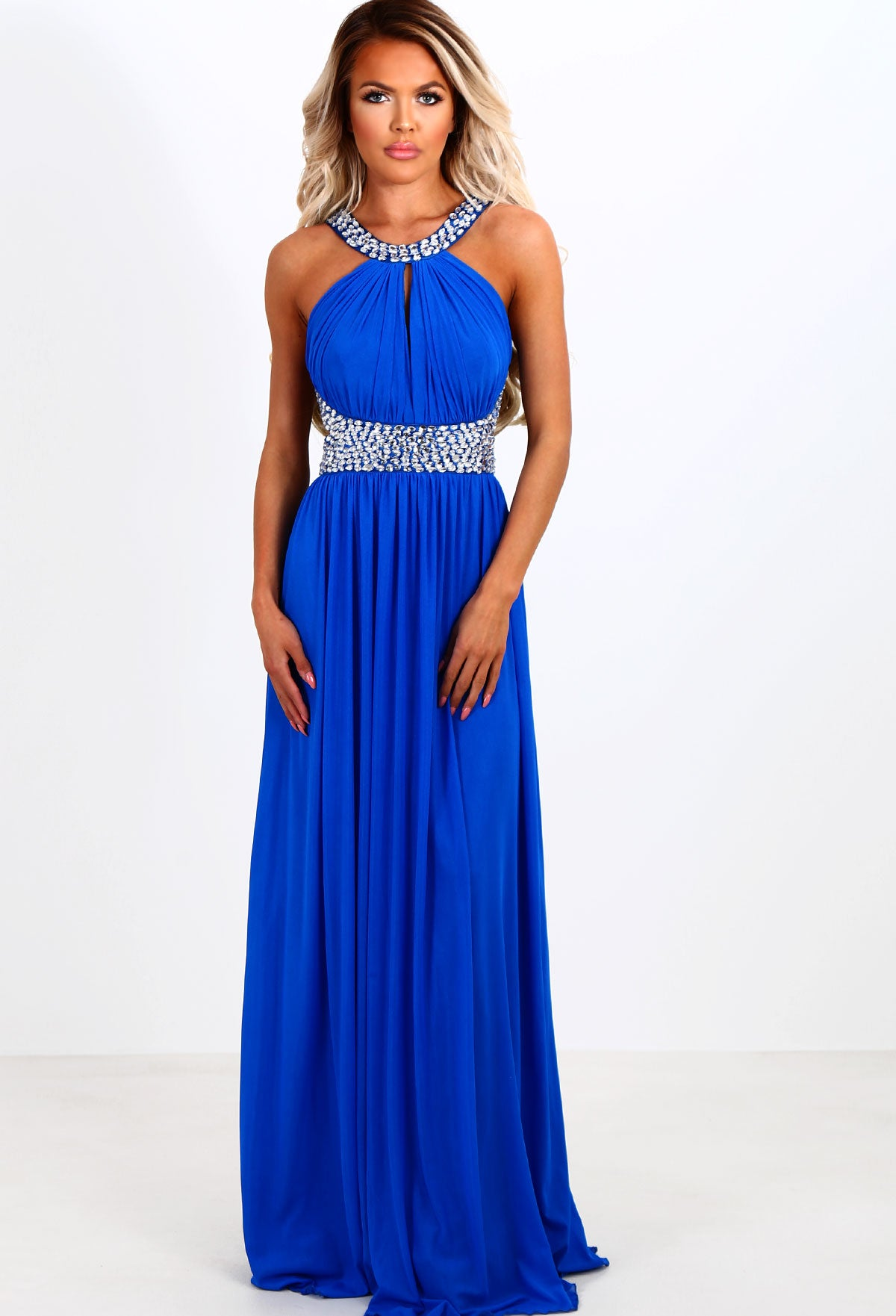 863709b4f3 Limited Edition Last Dance Royal Blue Grecian Diamante Maxi Dress ...