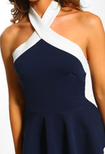 Last Of Me Navy And Nude Halterneck Peplum Top