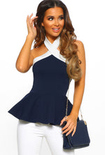 Last Of Me Navy And White Halterneck Peplum Top