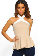 Nude And White Halterneck Peplum Top - Front View