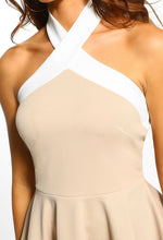 Nude And White Halterneck Peplum Top - Close up View