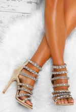 Lavish Habits Nude Jewel Strap Stiletto Heels
