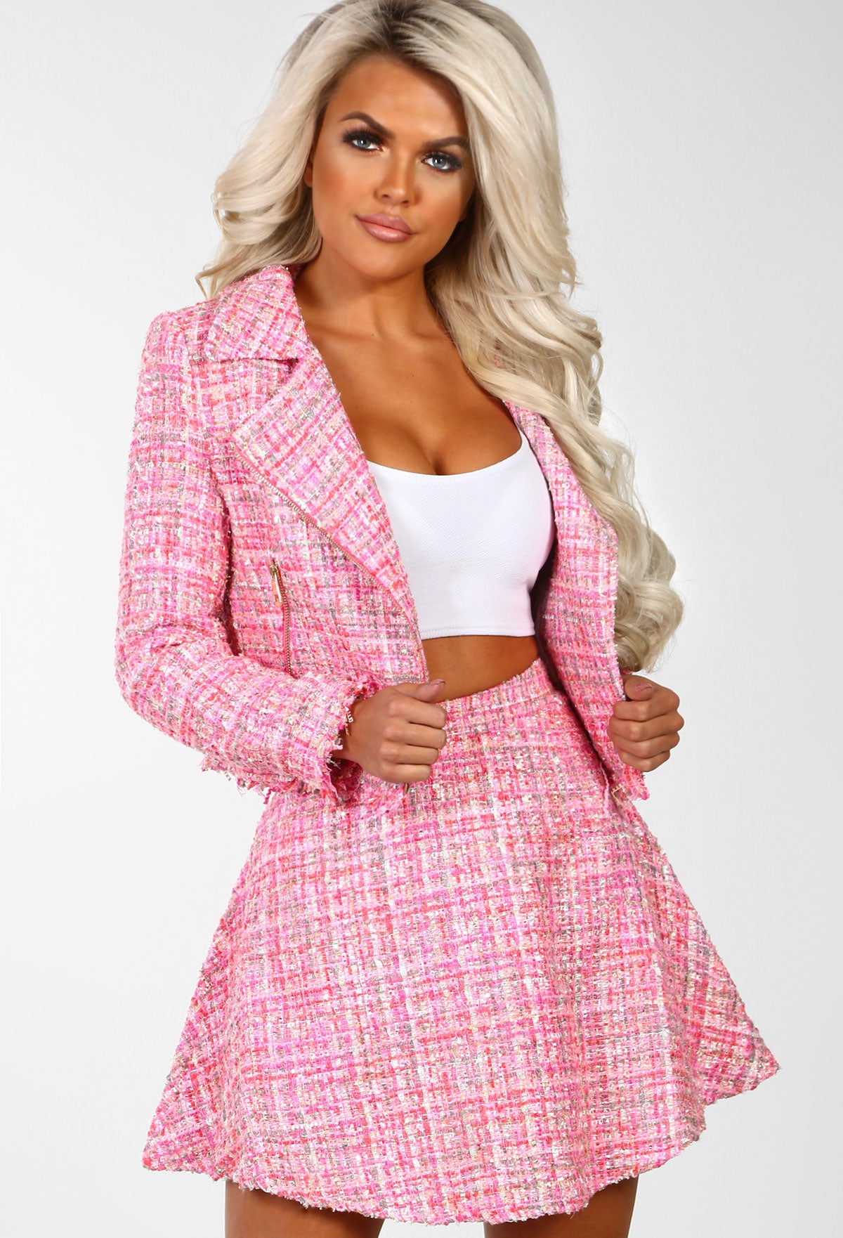 b0247c281ce4 Legally Blonde Pink Tweed High Waisted Skater Skirt – Pink Boutique UK