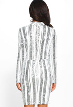 Silver and White Sequin Long Sleeve Mini Dress - Back View