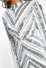 Silver and White Sequin Long Sleeve Mini Dress - Detail Closeup