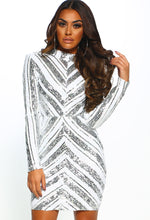 Silver and White Sequin Long Sleeve Mini Dress - Front View