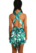 Life's A Breeze White and Green Leaf Print Tie Playsuit