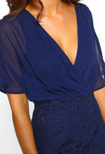 Navy Chiffon Wrap Lace Midi Dress - Detail Closeup