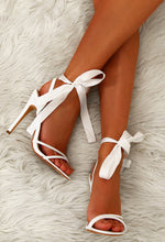 Like Dreamers Do White Patent Ankle Tie Heels