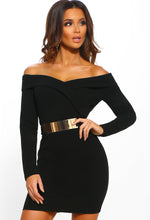 Black Bardot Belted Bodycon Mini Dress - front View