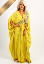 Crazy In Love Yellow Embellished Batwing Maxi Dress