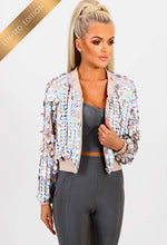 Limited Edition Ibiza Nights Nude and Silver Sequin Bomber Jacket