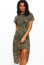 Khaki Zebra Print Dress