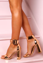 Little Secret Rose Gold Buckle Detail Block Heels