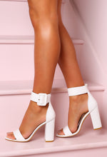 White Block High Heels