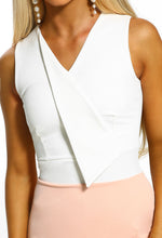 Nude Sleeveless Bodycon Midi Dress - Detail Closeup