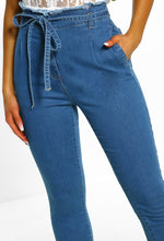 Mid Blue Tie Waist Jeans - Close Up View