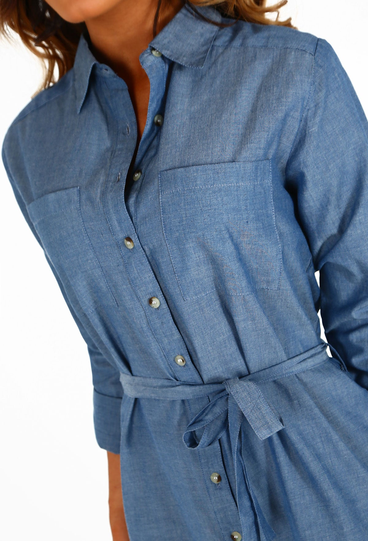 0d76f1e2566 Lonely Hearts Mid Blue Tie Waist Denim Shirt Dress – Pink Boutique UK