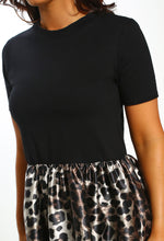 Black Leopard Print Peplum T-Shirt - Close up View