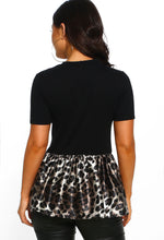 Black Leopard Print Peplum T-Shirt - Back View