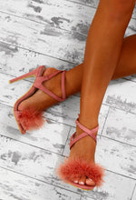Love Bites Pink Feather Strappy Heels