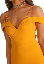 Love In Paradise Mustard Bardot Frill Hem Midi Dress