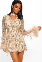 Love Lavish Nude Sequin Tassel Feather Trim Choker Playsuit