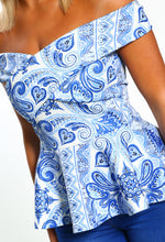 Blue Printed Peplum Top