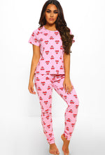 Loved And Lost Pink Love Heart Print Trouser PJ Set