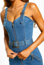 Mid Blue Buckle Detail Denim Midi Dress - Detail Closeup