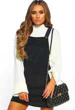 Black Corduroy Dungaree Mini Dress - Front View
