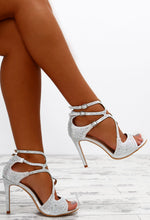 Luxe Soiree Silver Diamante Embellished Strappy Heels