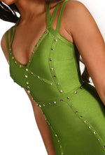 Luxury Lady Green Studded Bandage Mini Dress