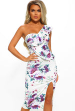 White Floral Frill One Shoulder Midi Dress - Front View