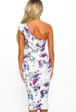 White Floral Frill One Shoulder Midi Dress - Back View