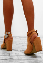 Main Stage Tan Faux Suede Peep Toe Boots
