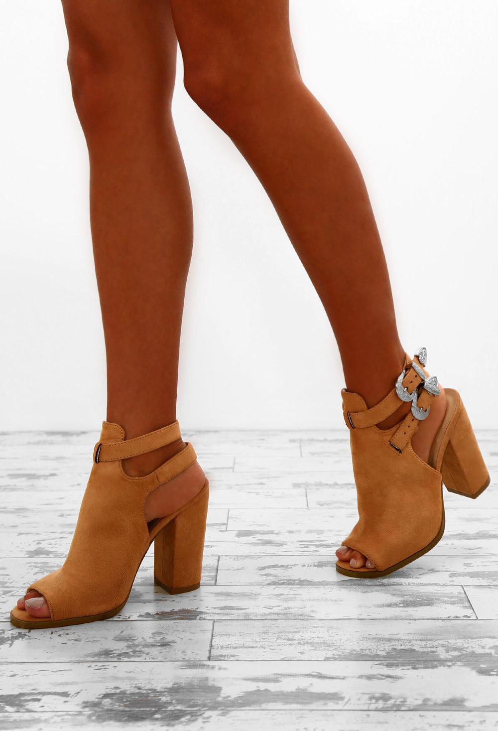 Main Stage Tan Faux Suede Peep Toe