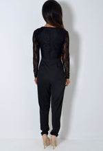 Maita Black Lace Plunge Wrap Long Sleeve Jumpsuit