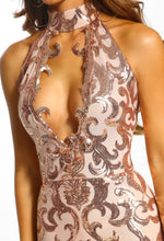 Rose Gold Sequin Plunge Choker Maxi Dress - Detail Closeup