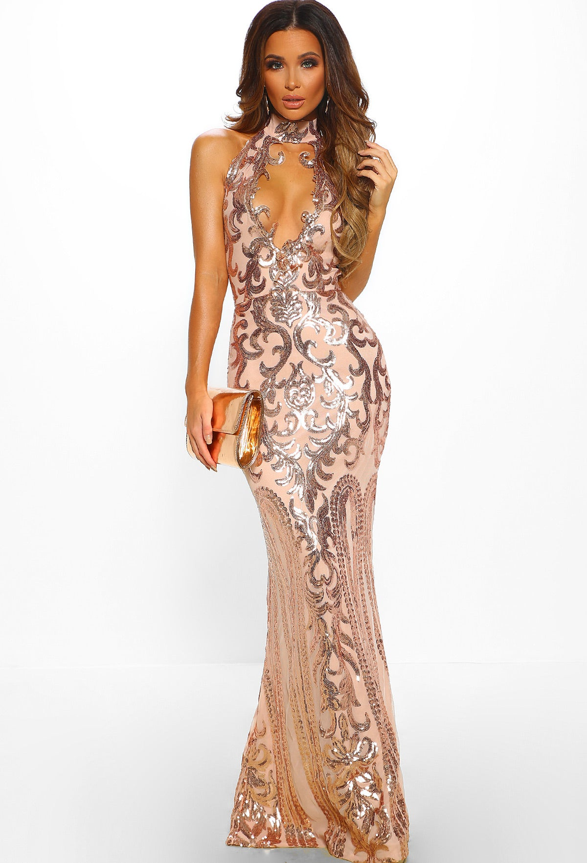 be7d48fc401 Majesty Rose Gold Limited Edition Sequin Plunge Choker Maxi Dress ...