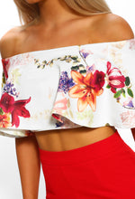 White Floral Frill Bardot Crop Top - Close up View